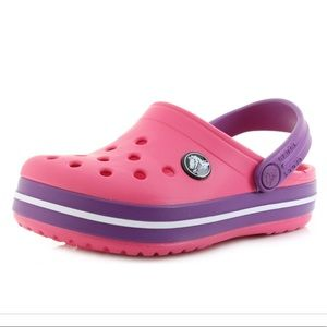 Crocs Girls 10/11 Pink Purple W/ Disney Plugs